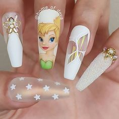 Disney Acrylic Nails, Summer Acrylic Nails, Best Acrylic Nails, Disney Nails Art, Summer Nails, Acrylic Art, Nails Inc, Gel Nails, Coffin Nails