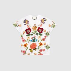 GUCCI Flower Print Cotton Tee. #gucci #cloth #women's tops & shirts