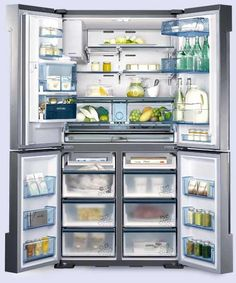With two separate units below—one with four settings so that it can chill or freeze—French doors up top, plus an ice-and-water dispenser, Samsung's Chef Collection 4-Door Refrigerator aims to accommodate it all.  About $6,400; samsung.com for stores. | thisoldhouse.com