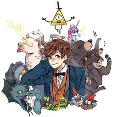 Image shared by Pao Giselle. Find images and videos about harry potter, gravity falls and fantastic beasts on We Heart It - the app to get lost in what you love. Gravity Falls Crossover, Gravity Falls Au, Gravity Falls Journal, Desenhos Gravity Falls, Grabity Falls, Dipper Pines, Mabel Pines, Mundo Comic, Reverse Falls