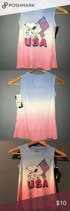 Girls Peanuts Snoopy Tank Top Pink and Blue Peanuts Snoopy Girls Tank Top. S(6/6X) Peanuts Shirts & Tops Tank Tops
