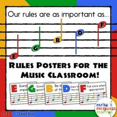 Fun and FREE set of music classroom rules based on the note names of the lines and spaces! Comes in three color schemes.