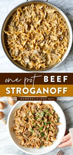 211 reviews · 40 minutes · Serves 4-6 · Everyone's favorite beef stroganoff is now a one-pot wonder! This no-fuss dinner idea for tonight has the quickest cleanup. Drenched in all that cream sauce with ground beef and cremini mushrooms… Healthy Crockpot Recipes, Beef Recipes, Beef Meals, Cooking Recipes, Hamburger Recipes, Noodle Recipes, Dinner Dishes, Dinner Recipes, Potluck Recipes