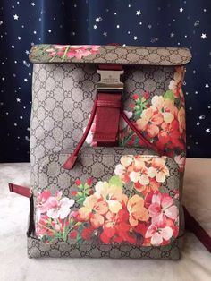 2fe313d519fd Gucci 405019 Blooms Backpack a special edition blooms print on our gg  supreme canvas. beige/ebony gg supreme canvas with blooms print, ma.