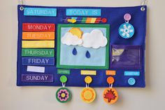 Weekly Weather Felt Board by Today I Felt Crafty- SO cute. Maybe rearrange a bit for our purposes.