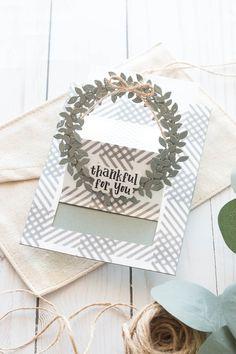 Spellbinders- June Large Die of the Month Easel Wreath Card- Marie Nicole Slider Cards, Spellbinders Cards, Green Wreath, White Gel Pen, Tag Design, Origami Paper, Card Kit, Autumn Inspiration, Gel Pens