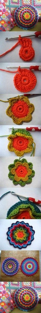Crochet Blooming Flower Cushion Free Pattern