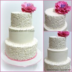 A Lace inspired wedding cake with sugar peony.