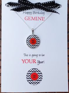 Any birthday from May 21st - June 20th is a Gemini!  Give her this adorable Gemini card that comes with a totally on trend chevron necklace. Gemini Birthday, Birthday Wishes, Birthday Cards, Birthday Gifts, Chevron Necklace, Happy Birthday Greeting Card, Matching Necklaces, Pendant, June