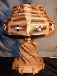 Vintage Mid Century Modern Retro POPSICLE STICK TABLE LAMP Funky Folk Tramp Art