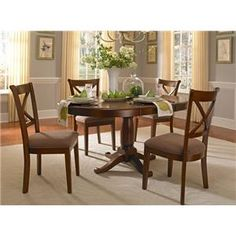 5 Piece Oval Pedestal Table and Side Chair Set