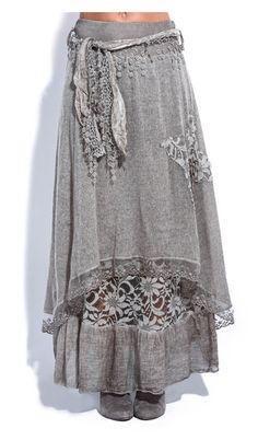 Brown Floral Mohair-Blend Carine Skirt