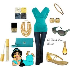 Jasmine inspired set, created by #angiemarie55 on #polyvore. #fashion #style Hudson Jeans #GUESS