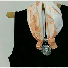 Scarf Charm Jewlery pendant Silver look filagree design cuff to decorate and add some style to all those scarves. A fun piece. Jewelry