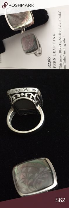 Silpada 925 SS & Black Lip Shell Ring Etched shell in beautiful sterling silver filigree setting. Silpada Jewelry Rings