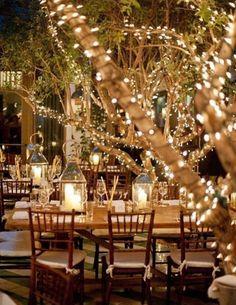 outdoor night wedding decorations