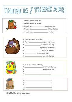 A collection of English ESL There is / there are / there was / there were / there will be, etc., Beginner elementary school worksheets for home lea. English Worksheets For Kids, English Lessons For Kids, Kids English, English Activities, English Words, Learn English, French Lessons, Spanish Lessons, Learn French