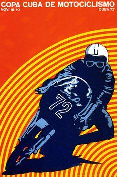 Cuban silk screen poster announcing the Cuba Motorcycle Cup. Designed by Luis Alvarez 1972