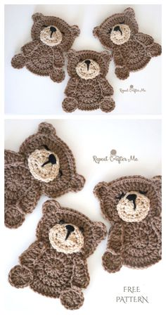 Crochet crafts 238831586478215563 - Teddy Bear Applique Free Crochet Patterns Source by DIYDailyMag Crochet Butterfly Free Pattern, Crochet Applique Patterns Free, Crochet Teddy Bear Pattern, Crochet Motifs, Crochet Blanket Patterns, Crochet Appliques, Crochet Simple, Cute Crochet, Crochet Crafts