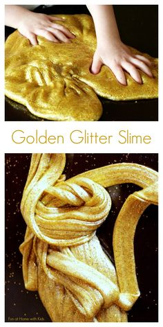 Golden Glitter Slime (Borax-Free) from Fun at Home with Kids