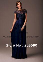 Online Shop 2014 New Arrival Scoop Lace Navy Blue Long Chiffon Wedding Guest Bridesmaid Brides Maid Dress B2212|Aliexpress Mobile
