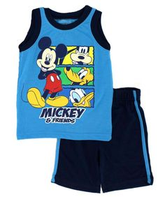 Disney Toddler Boys Mickey Friends Jersey Tank Top Shorts 2 Piece Set 2T 4T Blue #Disney #CasualPartyBirthday