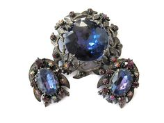 Vintage Florenza Brooch with Matching Earrings Blue Stone Estate Jewelry #Florenza