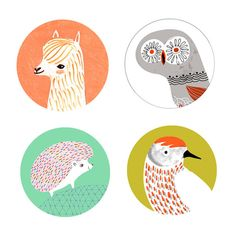 WildLife Buttons or Magnet Pack/Alpaca & Friends by PetitReve