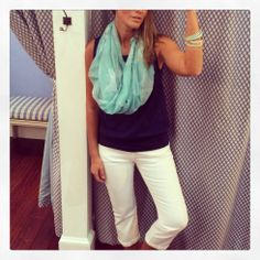 My favorite @Lilla Rogers P Sleeveless Tee for shopping off that Spring Break tan! {Paired with white cropped @a g Jeans }