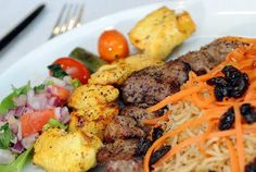 House Combination Platter, choice of 3 kabobs, chicken, kofta, lamb, and beef served at Aria Afghan Kabob Restaurant in Allentown.