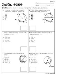 FREE Circles Basics Quiz (Vocabulary, Area, Circumference, Shaded Regions, and Tangent Lines) Geometry Formulas, Geometry Lessons, Teaching Geometry, Geometry Worksheets, School Worksheets, Writing Worksheets, Printable Worksheets, Circle Math, Circle Geometry
