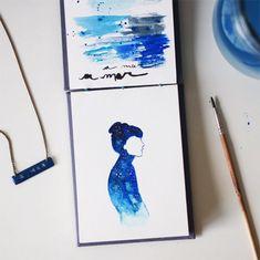 Aquarelas pintadas pela artista brasileira Lara Dias;