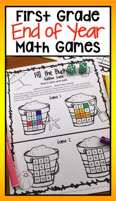 End of the Year Math Games for First Grade: Summer Packet Activities 1st Grade Math, First Grade, Grade 1, Math Games For Kids, Fun Math, Math Made Easy, Special Education Math, Math Projects, School Projects