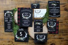 Style Name: Jane  Description: Having an outdoors wedding? How about in the woods or up north? This is the perfect design for just that. A fun, wildflower grouping with deer antlers gets the perfect amount of ruggedness with the red plaid flannel. If flannel isnt your thing, these can