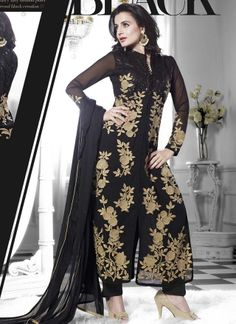 Amisha Patel Black Pure Georgette Bollywood Salwar Kameez #salwarsuit #Bollywood  http://www.angelnx.com/Bollywood