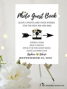 Polaroid Guest Book Sign in Black And Gold Leaf For An Alternative Wedding Guest Book. Ideal For A Photo Booth Sign SKU CWS306_3722C by IdoWeddingSignsShop on Etsy