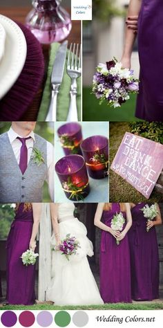 Purple, Plum & Sage Green Wedding Palette