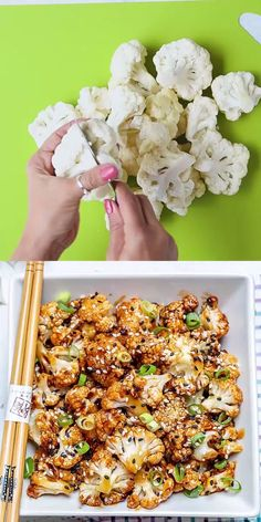 SWEET AND SPICY BAKED CAULIFLOWER This easy vegetarian cauliflower recipe is full of flavor and the perfect combination of sweet and spicy. Makes an amazing appetizer recipe or a side dish option. These baked cauliflowers will soon be your go-to recipe. Vegan Dinners, Healthy Dinner Recipes, Appetizer Recipes, Healthy Snacks, Healthy Eating, Keto Snacks, Healthy Supper Ideas, Healthy Burritos, Healthy Packed Lunches
