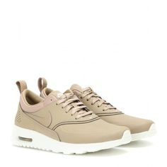 Nike Nike Air Max Thea Premium Leather Sneakers (600 RON) ❤ liked on Polyvore featuring shoes, sneakers, beige, real leather shoes, leather sneakers, nike, nike shoes and genuine leather shoes