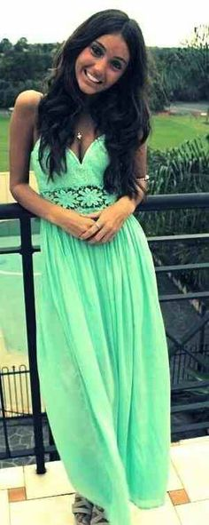 Mint Flowy flower Dress. Teen Fashion. By-Lily Renee♥ follow (Iheartfashion14).