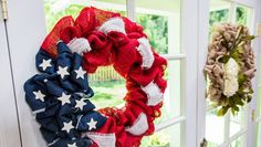 Get ready for the 4th of July w/ this patriotic Burlap Wreath! For more great crafts & DIYs tune in to #Homeandfamily weekdays at 10/9c on Hallmark Channel!