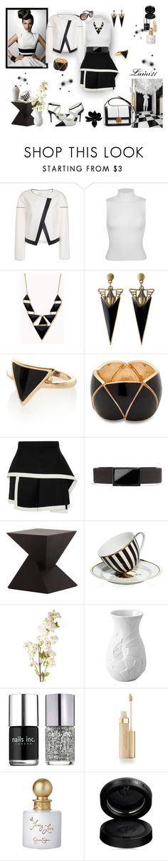 """""""black and white"""" by lumi-21 ❤ liked on Polyvore featuring Miss Selfridge, Forever 21, River Island, MOOD, Elie Saab, McQ by Alexander McQueen, Vince Camuto, Nuevo, Henri Bendel and OKA"""