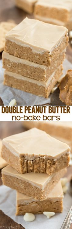 Like the inside of a peanut butter cup, these EASY Double Peanut Butter Bars are no-bake and come together in minutes. Topped with peanut butter white chocolate these bars are a super peanut buttery recipe!: