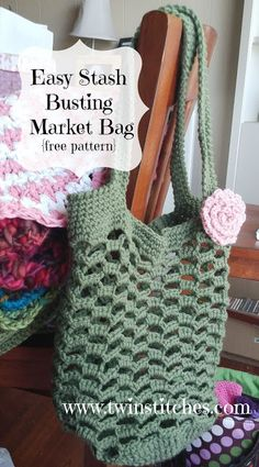 Tw-In Stitches: Easy Stashbusting Market Bag - Free Crochet Pattern