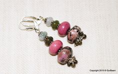 "Rhodonite, Agate, and Indian Jasper rondels with Vesuvianite dangles - ""Dusky Pink Blossoms"" Earrings by SaiishEnergyCrystals on Etsy"