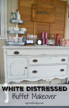 I love a good furniture make over! Check out this White Distressed Buffet {Themed Furniture Makeover} for inspiration for your next furniture project. My Creative Days