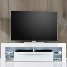 Score Lowboard TV Stand In White High Gloss With LED Light