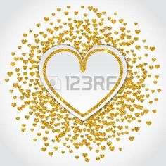 Vector Illustration of Valentines day card for Design, Website, Background, Banner. Heart Element Template for Shiny Gold Love Valentine or Invitation to Marriage Vector