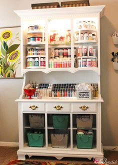 Turn an outdated hutch into a craft storage center - Such a great DIY furniture makeover idea that requires just a bit of paint! art studio Craft Storage Center from and Old Hutch Craft Room Storage, Craft Organization, Storage Ideas, Scrapbook Room Organization, Sewing Room Storage, Paper Storage, Organizing Tips, Diy Storage, Craft Shelves