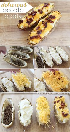 These delicious potato boats are simple to make and are a dinner the whole family will love. Potato Boats, Yummy Food, Tasty, Potato Dishes, Cooking Recipes, Skillet Recipes, Pizza Recipes, Potato Recipes, Family Meals